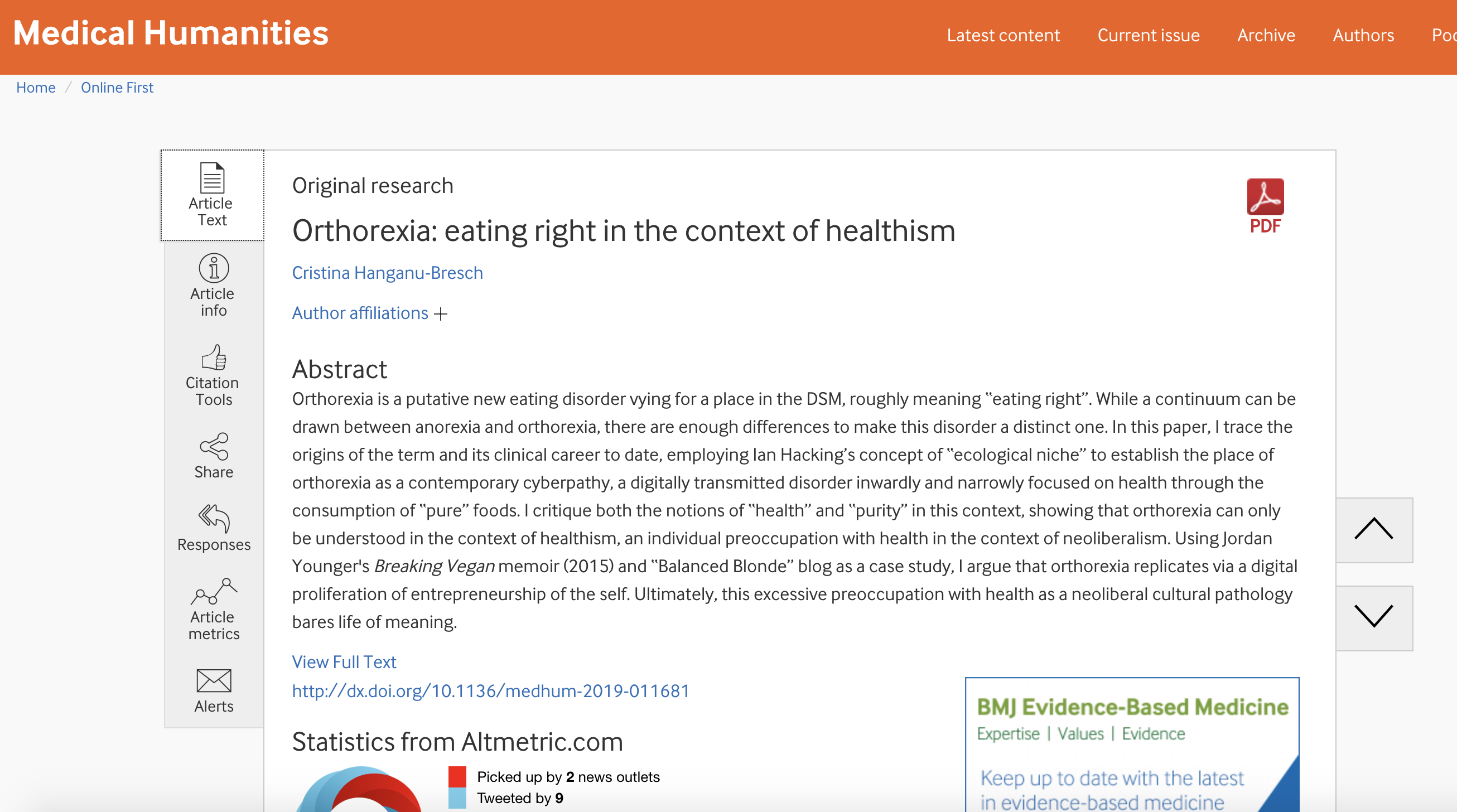 Orthorexia: Eating right in the context of healthiest. Medical Humanities-BMJ, July 2019