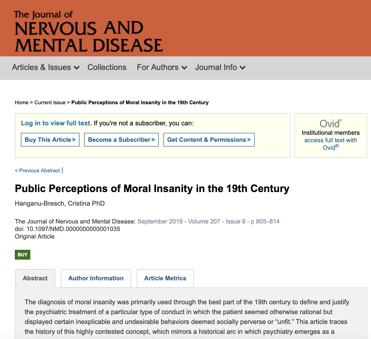 Public Perceptions of Moral Insanity in the 19th Century. Journal of Nervous and Mental Disease, September 2019.